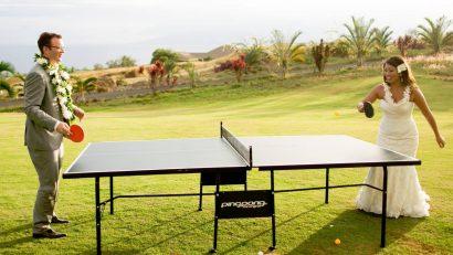 mesa de ping pong en una boda