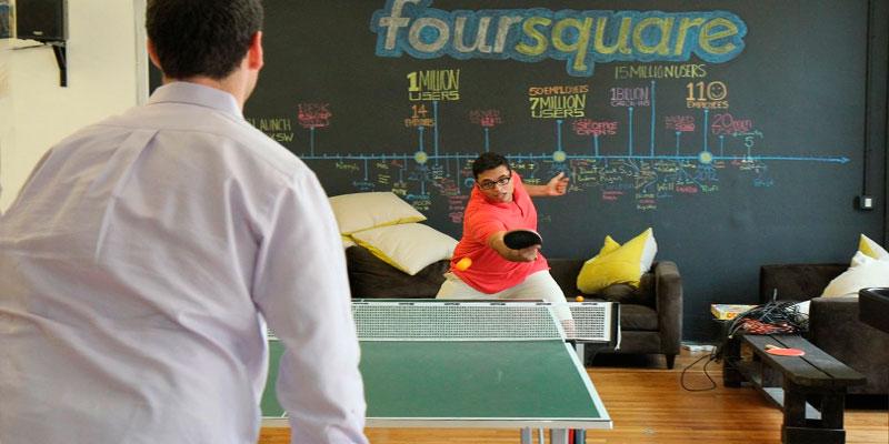 mesa ping pong en oficina Foursquare