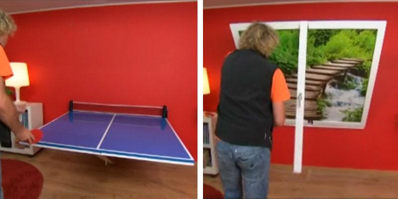 mesa de ping pong anclada en la pared
